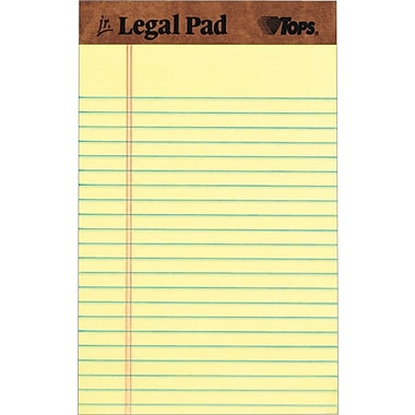 TOPS® The Legal Pad™ Writing Pad, Canary, Jr Legal Ruled, 5in. x 8in., 50 Sheets, 12/Pack