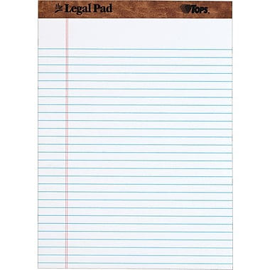 The Legal Pad™ Legal Rule, White, Perforated, 50 Sheets/Pad, 12 Pads/Pack, 8-1/2in. x 11-3/4in.