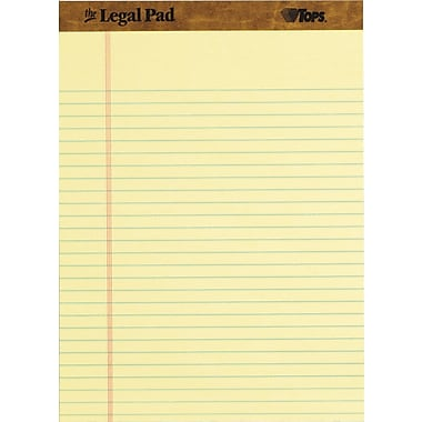 The Legal Pad™ Legal Rule, Canary, Perforated, 50 Sheets/Pad, 12 Pads/Pack, 8-1/2in. x 11-3/4in.