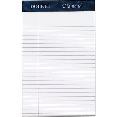 Docket® Diamond, Premium Stationery Tablet, White, 50 Sheets/Pad, 4 Pads/Box, 5in. x 8in.