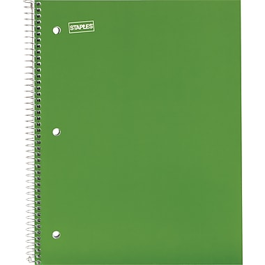 Staples® 1 Subject Notebook, 8-1/2in. x 11in., College Ruled, Green