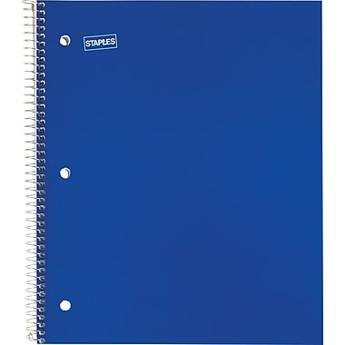 Staples® 1 Subject Notebook, 8-1/2in. x 11in., College Ruled, Blue