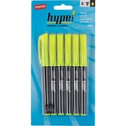 Staples® Hype!™Pen-Style Highlighters, Yellow, 6/Pack