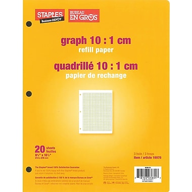 Staples® Graph 10:1 cm Quad Refill Paper, 8-3/8