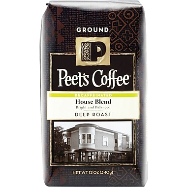 Peet's House Blend, Deep Roast Decaf Ground Coffee, 12 oz