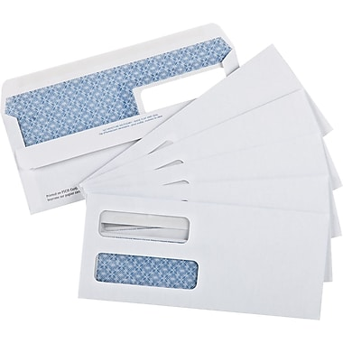 Staples® Envelopes White Double Window Security #10, 4-1/8
