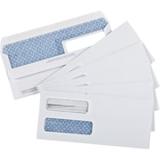 "Staples® Envelopes White Double Window Security #10, 4-1/8"" x 9-1/2"", 250/Box - Fold and Stick"