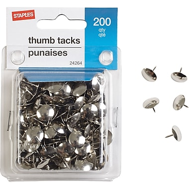 Staples® Thumbtacks, Nickel, 200/Pack