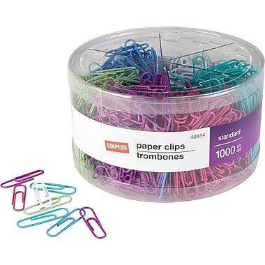 Staples® #1 Size Vinyl-Coated Paper Clips, Assorted Fashion Colours, 1000/Pack