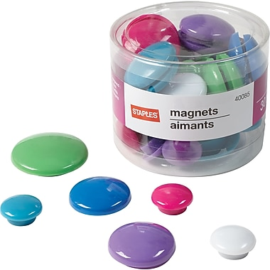 Staples® Coloured Button Magnets, Fashion Colours, 30/Pack