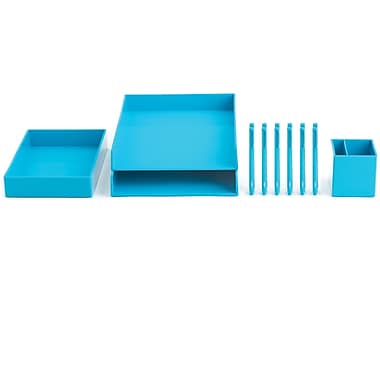 Poppin Pool Blue Desktop Set