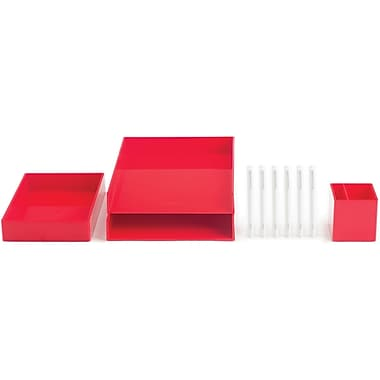 Poppin Red Desktop Set