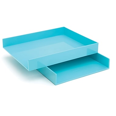 Poppin Letter Trays, Set of 2, Aqua, (100220)