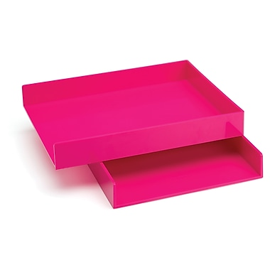Poppin Letter Trays, Set of 2, Pink, (100215)