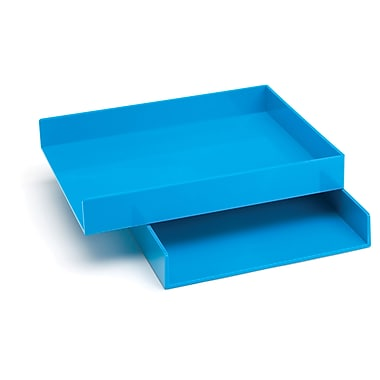 Poppin Letter Trays, Set of 2, Pool Blue, (100218)