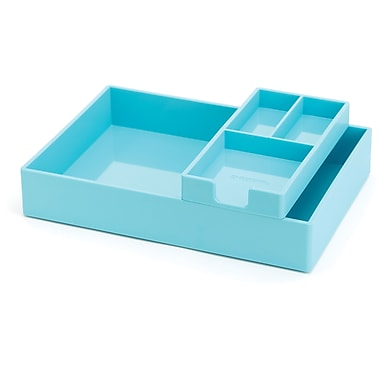 Poppin Aqua Desktop Tray Set