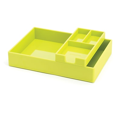 Poppin Lime Green Desktop Tray Set