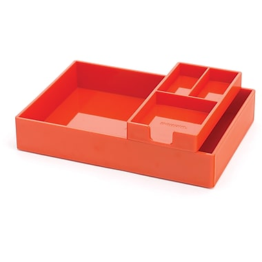 Poppin Orange Desktop Tray Set