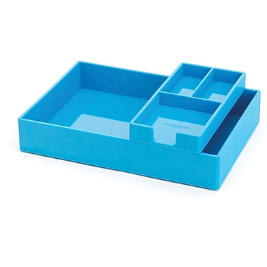 Poppin Pool Blue Desktop Tray Set