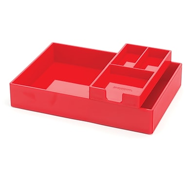 Poppin Red Desktop Tray Set