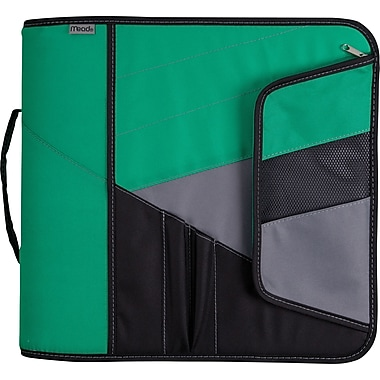 Mead 3in. Zipper Binder with Handle, Green