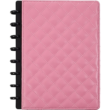 M by Staples™ Arc Customizable Patent Leather Notebook System, Pink Quilted, 6-3/4in. x 8-3/4in.