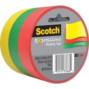 "Scotch® Expressions Masking Tape, Green, Yellow & Red, 1"" x 20 yds, 3 Rolls"