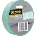 Scotch® Expressions Masking Tape, Mint Mosaic, 1in. x 20 yds