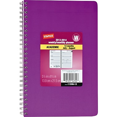 2013/2014 Staples® Recycled Academic Weekly/Monthly Planner, Purple/Blue, 5 1/2in. x 8 1/2in.
