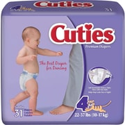 Cuties™ Premium Baby Diapers, Size 4, 124/Case
