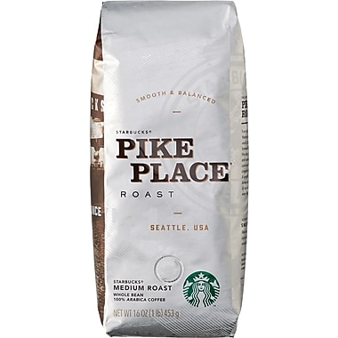 Starbucks Pike Place Roast Whole Bean Coffee, 1 lb. Bag