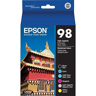 Epson 98 Black & Color Ink Cartridges (T098120-BCS), High Yield 6/Pack