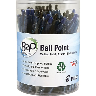 Pilot® B2P® Bottle to Pen Retractable Ball Point Pens, Fine Point, Black & Blue, 36/Pack