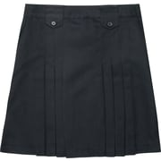 French Toast Girls Front-Pleated Skirt With Tabs, Black, Size 18 Plus