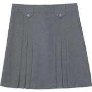 French Toast Girls Front-Pleated Skirt With Tabs, Heather Grey, Size 18