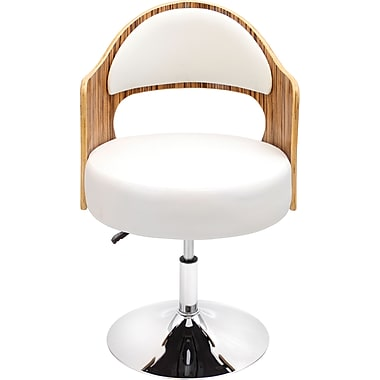 LumiSource Leatherette Cello Chair, Zebra/White