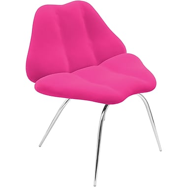LumiSource Plush Fabric Smooch Chair, Hot Pink