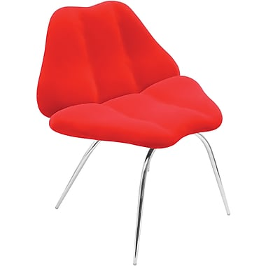 LumiSource Plush Fabric Smooch Chair, Red