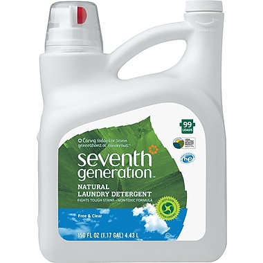 Seventh Generation  Free & Clear Natural 2X Concentrate Laundry Detergent, Unscented, 150 oz. Bottle