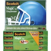 Scotch® Magic™ Tape 810 with Helmet Dispenser, 3/4 x 1000, 12/Pack