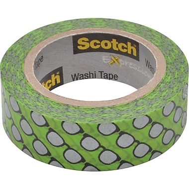 Scotch® Expressions Washi Tape, Silver Glasses, 3/5in. x 393in.