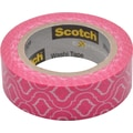 Scotch® Expressions Washi Tape, Pink Quatrefoil, 3/5in. x 393in.