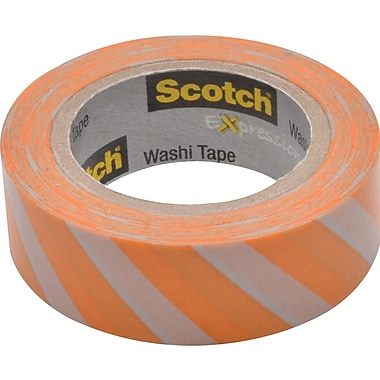 Scotch® Expressions Washi Tape, Diagonal Stripe, 3/5in. x 393in.
