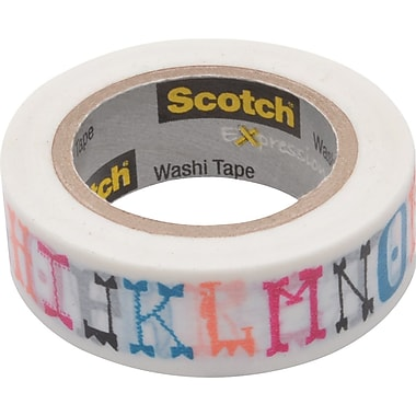 Scotch® Expressions Washi Tape, Illustrated Alpha, 3/5in. x 393in.