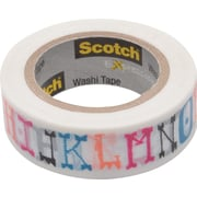 "Scotch® Expressions Washi Tape, Illustrated Alpha, 3/5"" x 393"""