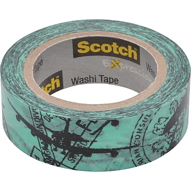 Scotch® Expressions Washi Tape, Airplane, 3/5