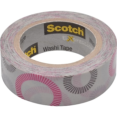Scotch® Expressions Washi Tape, Striped Circles Pattern, 3/5in. x 393in.