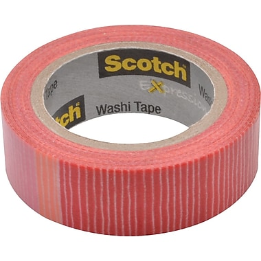 Scotch® Expressions Washi Tape, Pink/Red stripe, 3/5in. x 393in.
