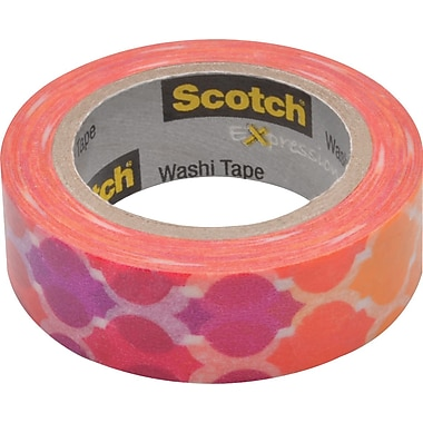 Scotch® Expressions Washi Tape, Quatrefoil Sunset, 3/5in. x 393in.