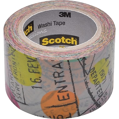Scotch® Expressions Washi Tape, Travel Pattern, 1.18